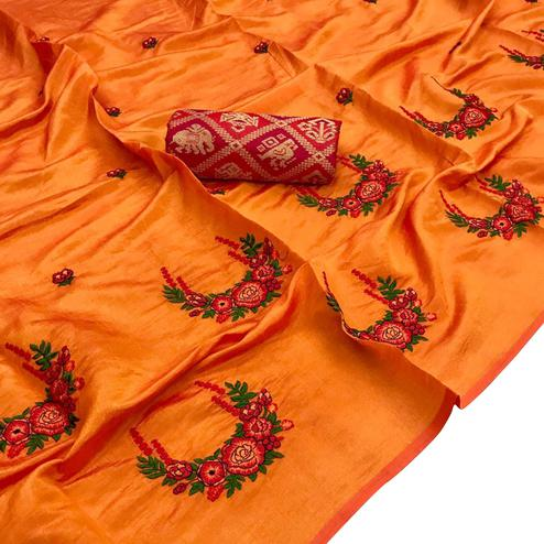Amazing Orange Colored Partywear Embroidered Art Silk Saree
