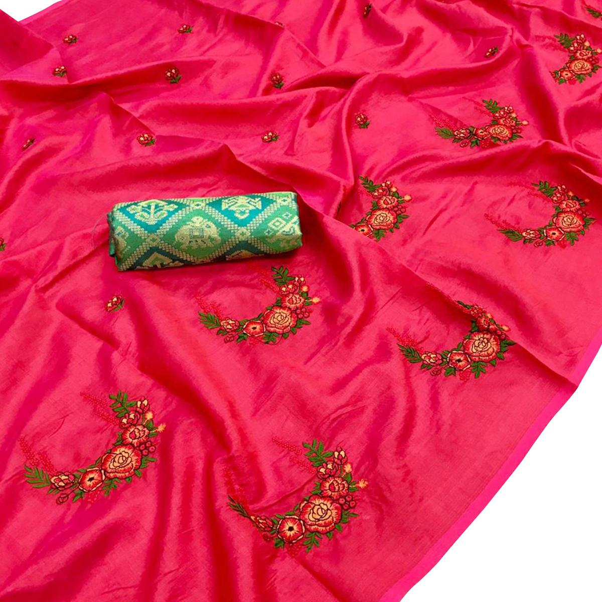 Stunning Pink Colored Partywear Embroidered Art Silk Saree