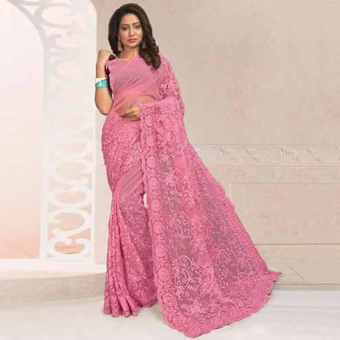 Jazzy Pink Colored Party Wear Embroidered Net Saree