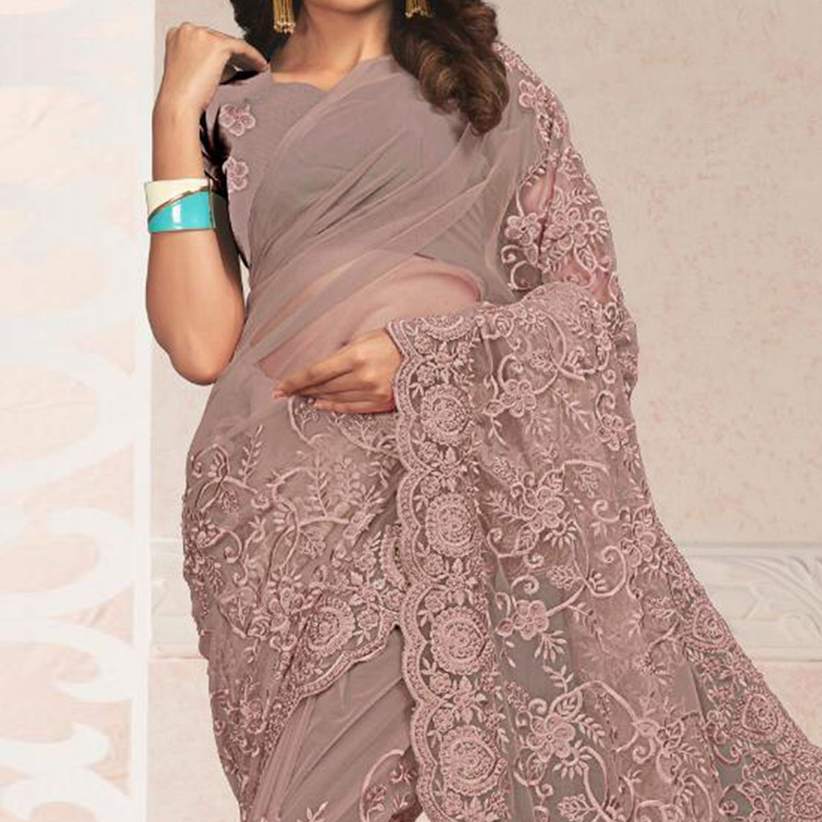 Prominent Pastel Brown Colored Party Wear Embroidered Net Saree