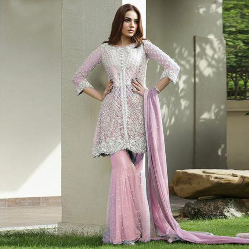 Groovy Pink Colored Partywear Embroidered Netted Palazzo Suit
