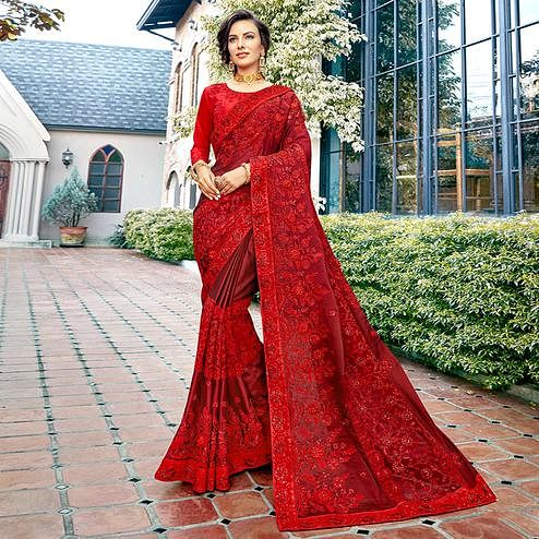 Lovely Red Colored Party Wear Embroidered Silk Saree