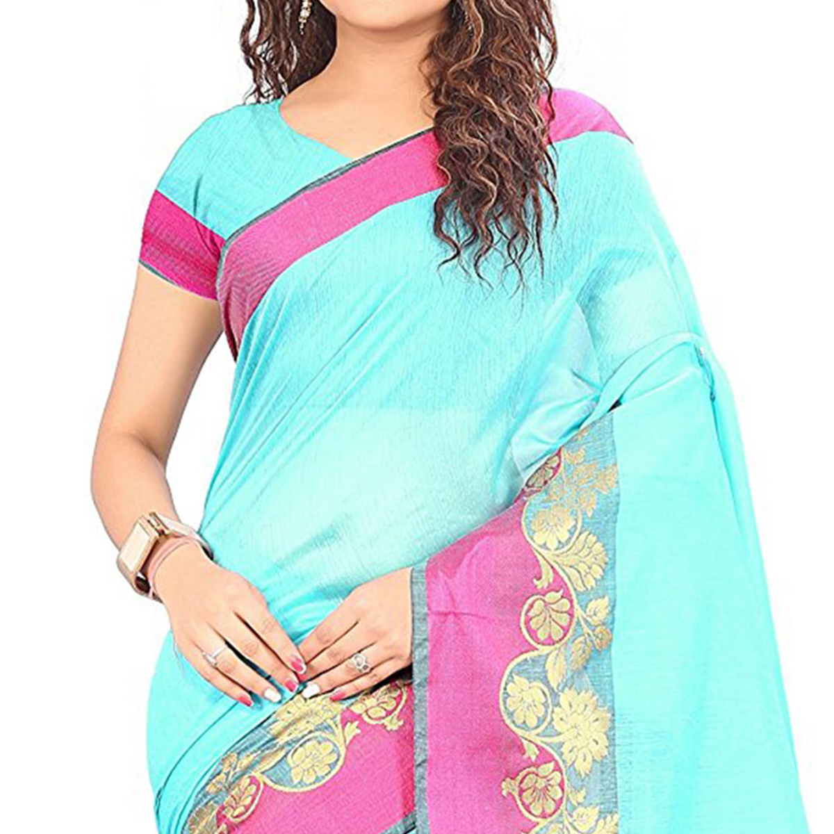 Firozi Festive wear Designer Cotton Silk Saree