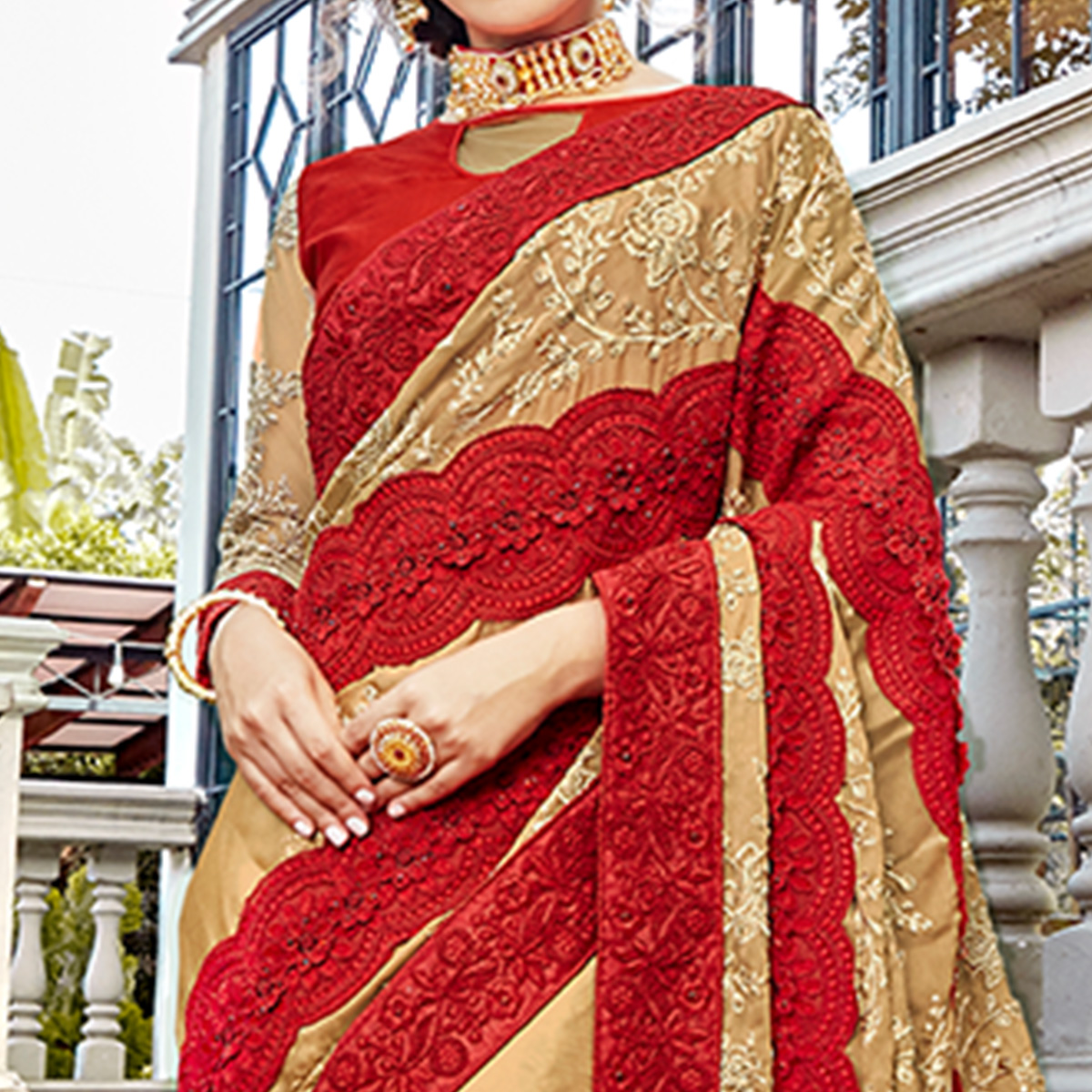 Charming Beige & Red Colored Party Wear Embroidered Silk Saree