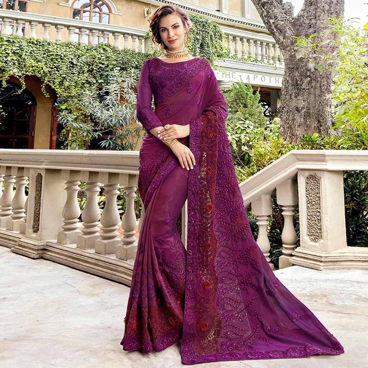 f8628383f9 Buy Ravishing Purple Colored Party Wear Embroidered Silk Saree For womens  online India, Best Prices, Reviews - Peachmode