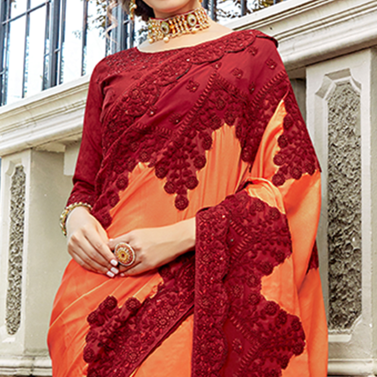 Delightful Peach & Maroon Colored Party Wear Embroidered Silk Saree