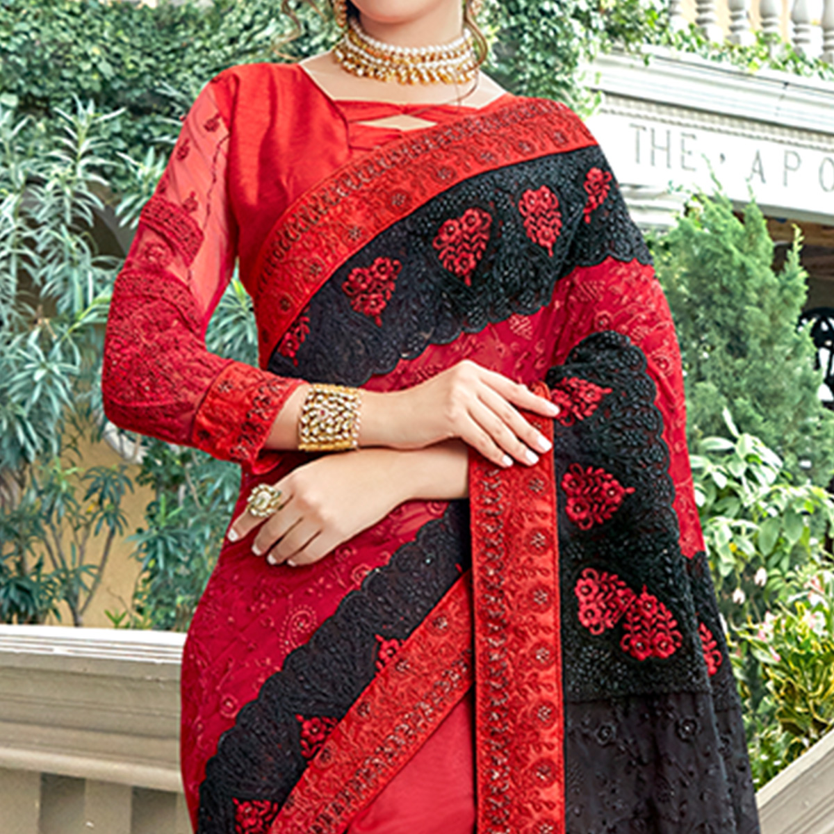 Stunning Red & Black Colored Party Wear Embroidered Silk Saree