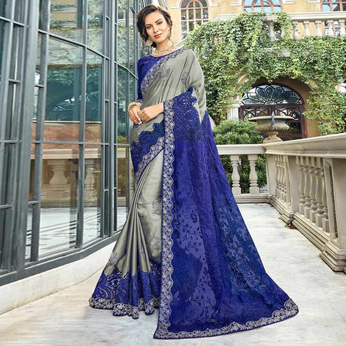Blooming Grey & Blue Colored Party Wear Embroidered Silk Saree