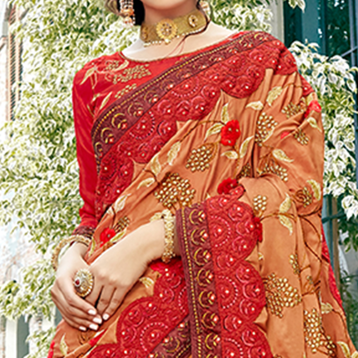 Marvellous Brown & Red Colored Party Wear Embroidered Silk Saree