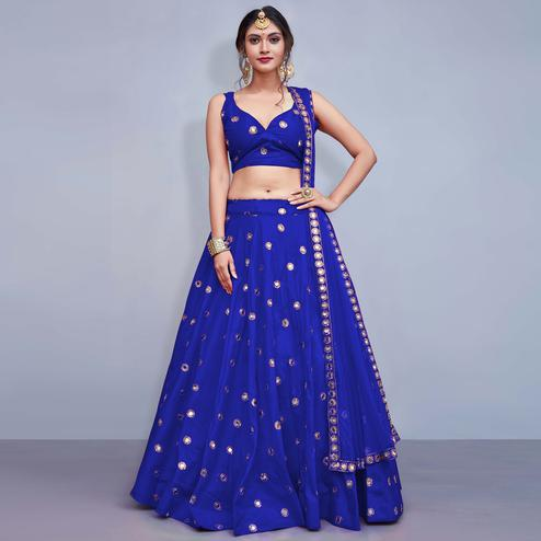 Intricate Royal Blue Colored Party Wear Fancy Tapeta Silk Lehenga Choli