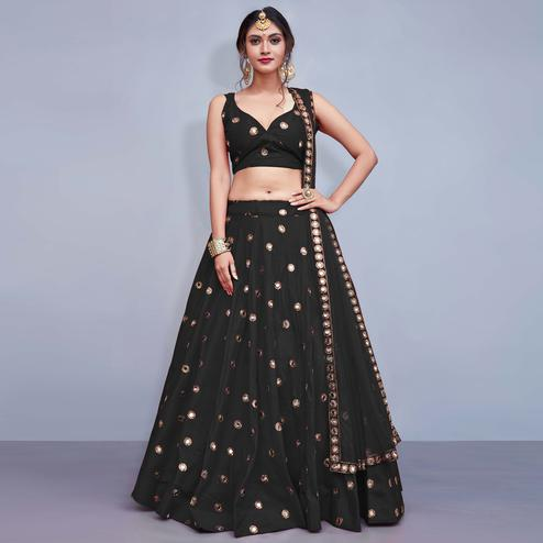 Desirable Black Colored Party Wear Fancy Tapeta Silk Lehenga Choli