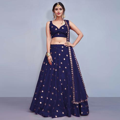 Sophisticated Navy Blue Colored Party Wear Fancy Tapeta Silk Lehenga Choli