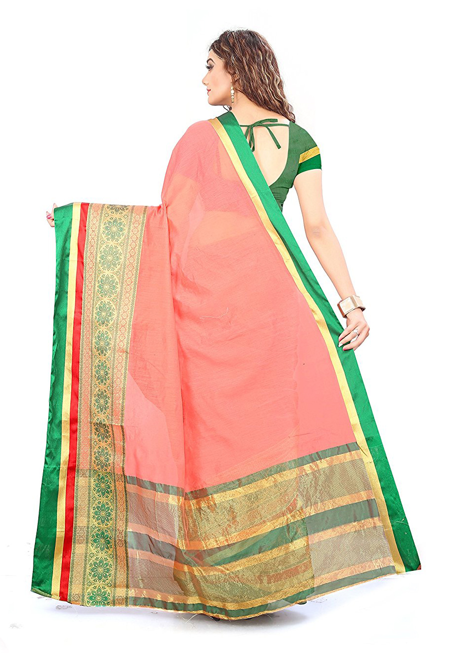Peach Festive wear Designer Cotton Silk Saree