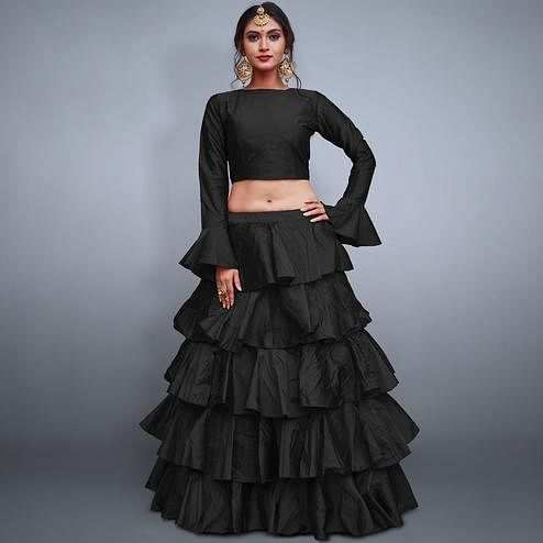 Pleasant Black Colored Party Wear Fancy Tapeta Silk Lehenga Choli