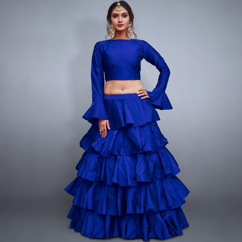 Unique Royal Blue Colored Party Wear Fancy Tapeta Silk Lehenga Choli