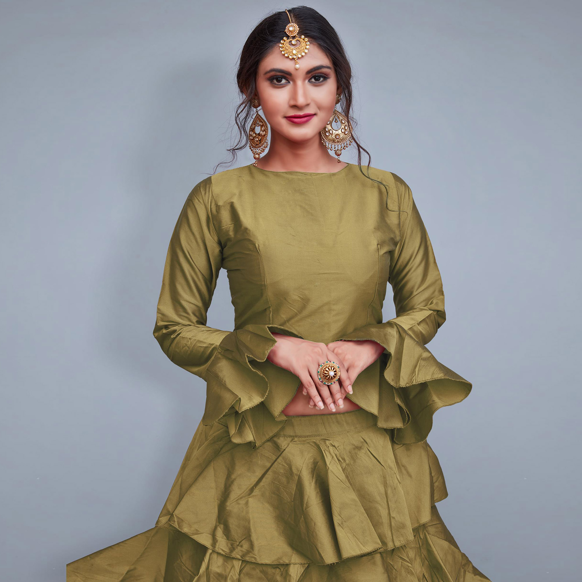 Refreshing Light Olive Green Colored Party Wear Fancy Tapeta Silk Lehenga Choli