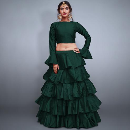 Elegant Pine Green Colored Party Wear Fancy Tapeta Silk Lehenga Choli