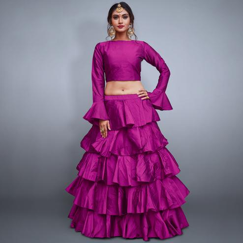 Alluring Rani Pink Colored Party Wear Fancy Tapeta Silk Lehenga Choli