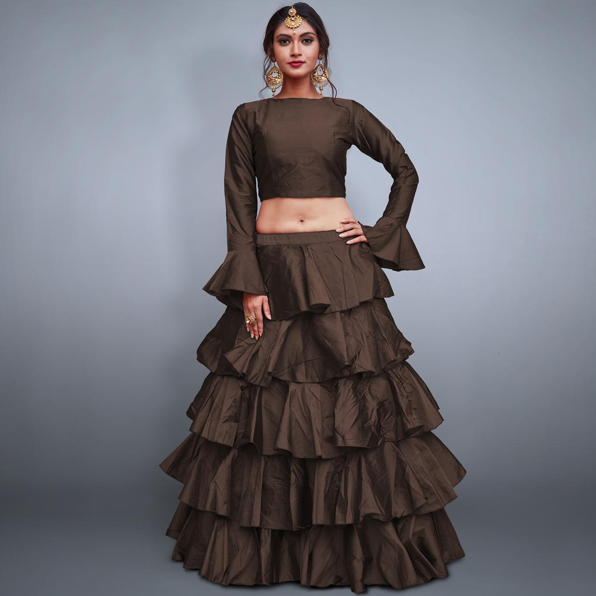 Radiant Dark Brown Colored Party Wear Fancy Tapeta Silk Lehenga Choli