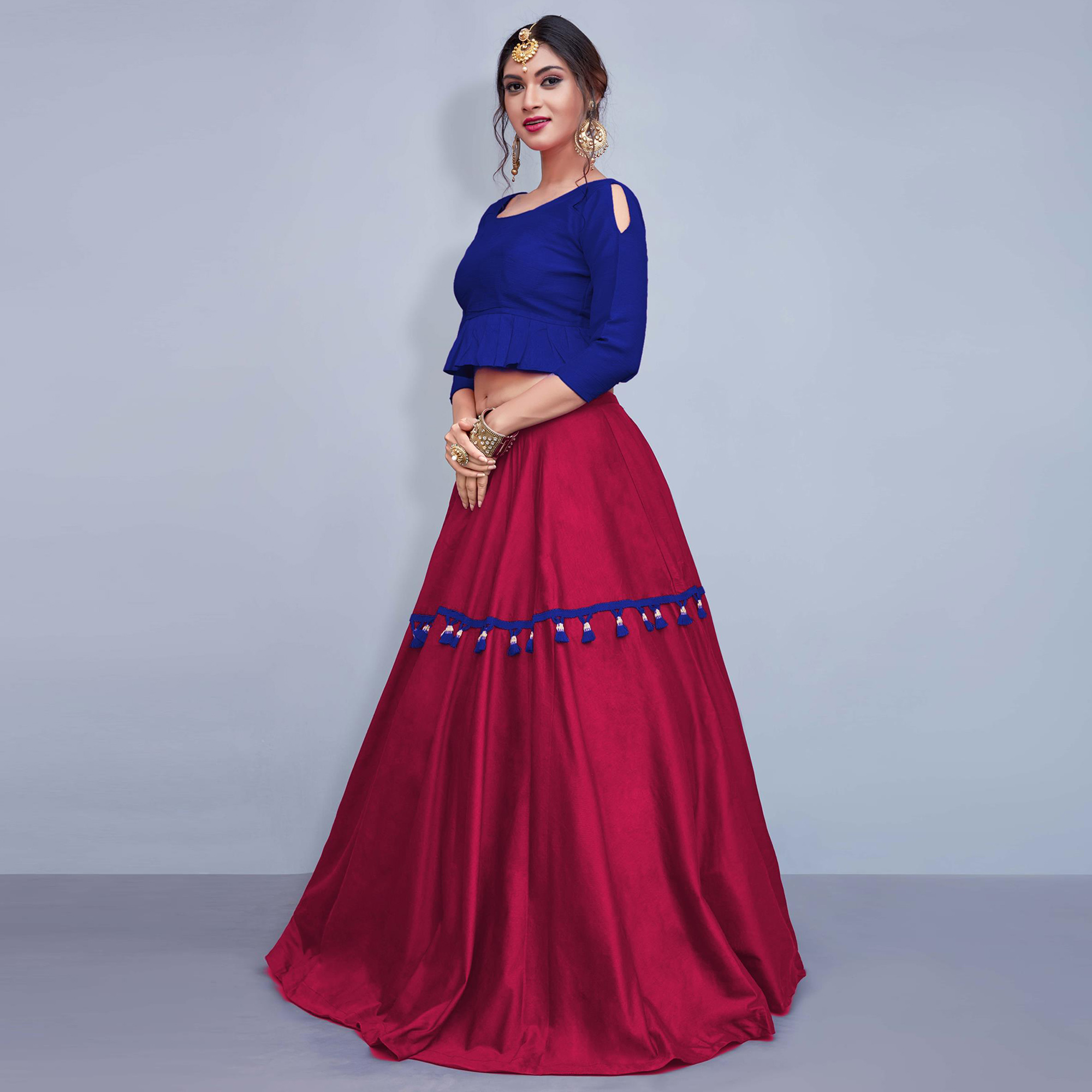 Sensational Deep Pink Colored Party Wear Fancy Cotton Lehenga Choli