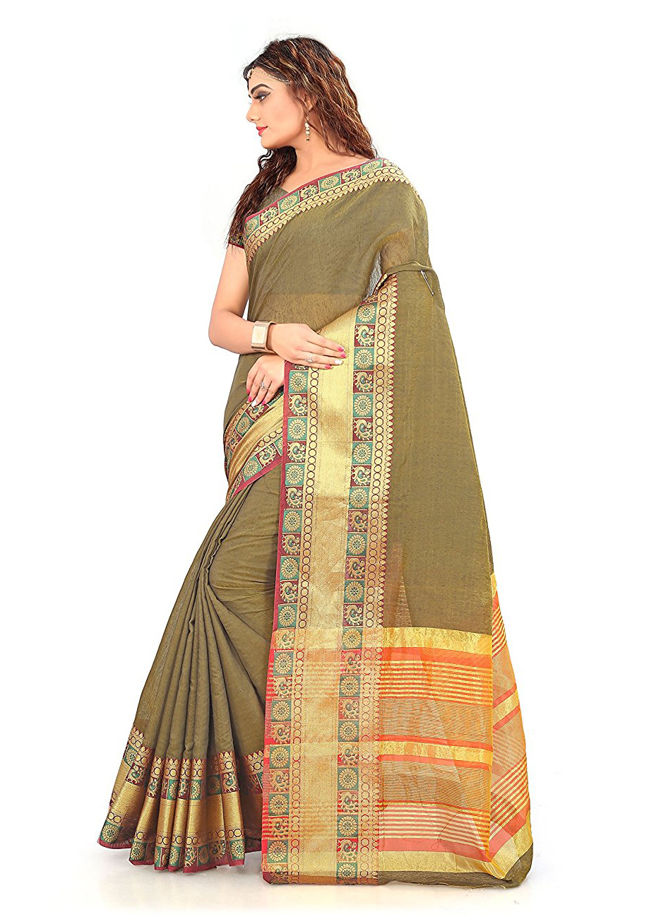 Brown Festive wear Designer Cotton Silk Saree