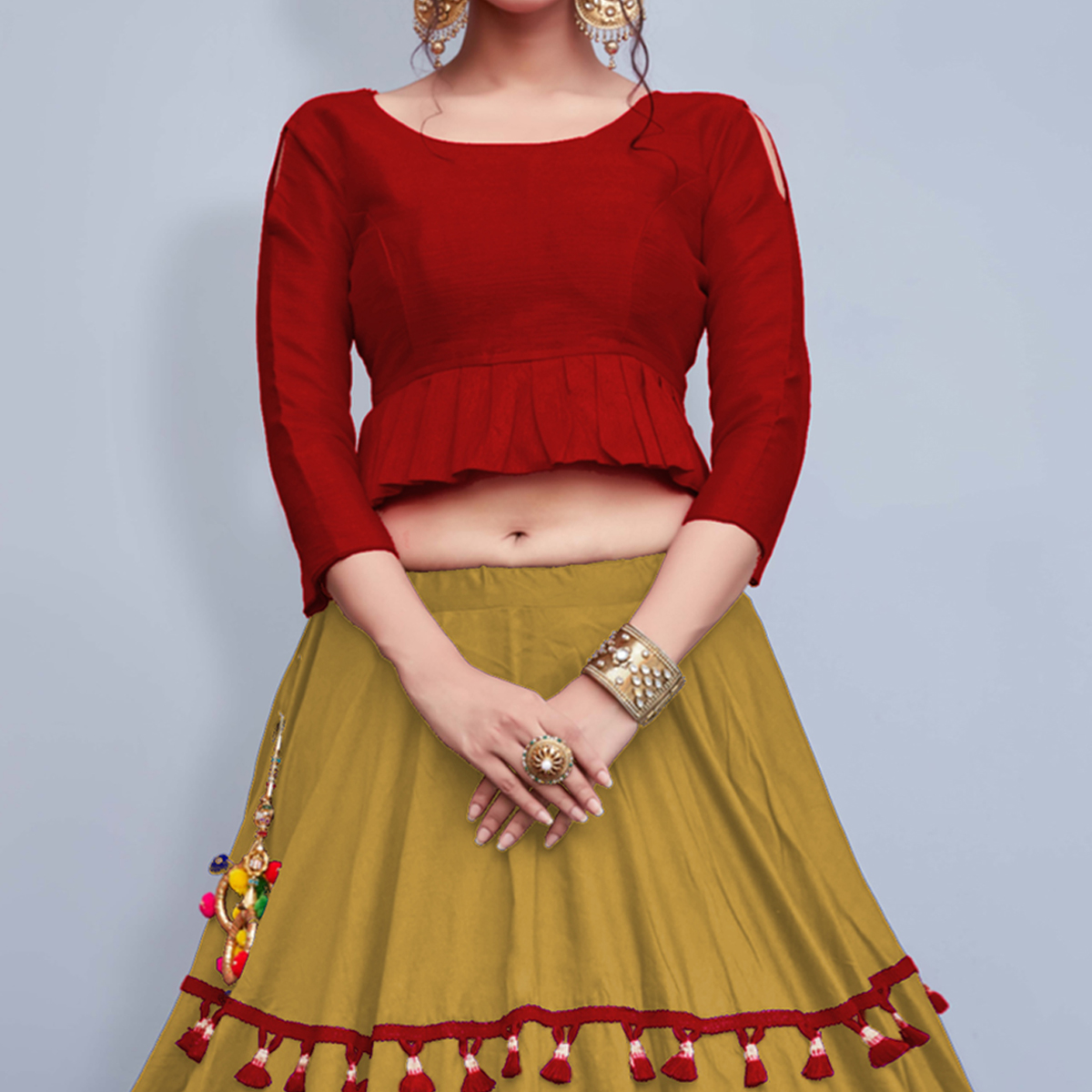 Breathtaking Light Olive Green Colored Party Wear Fancy Cotton Lehenga Choli