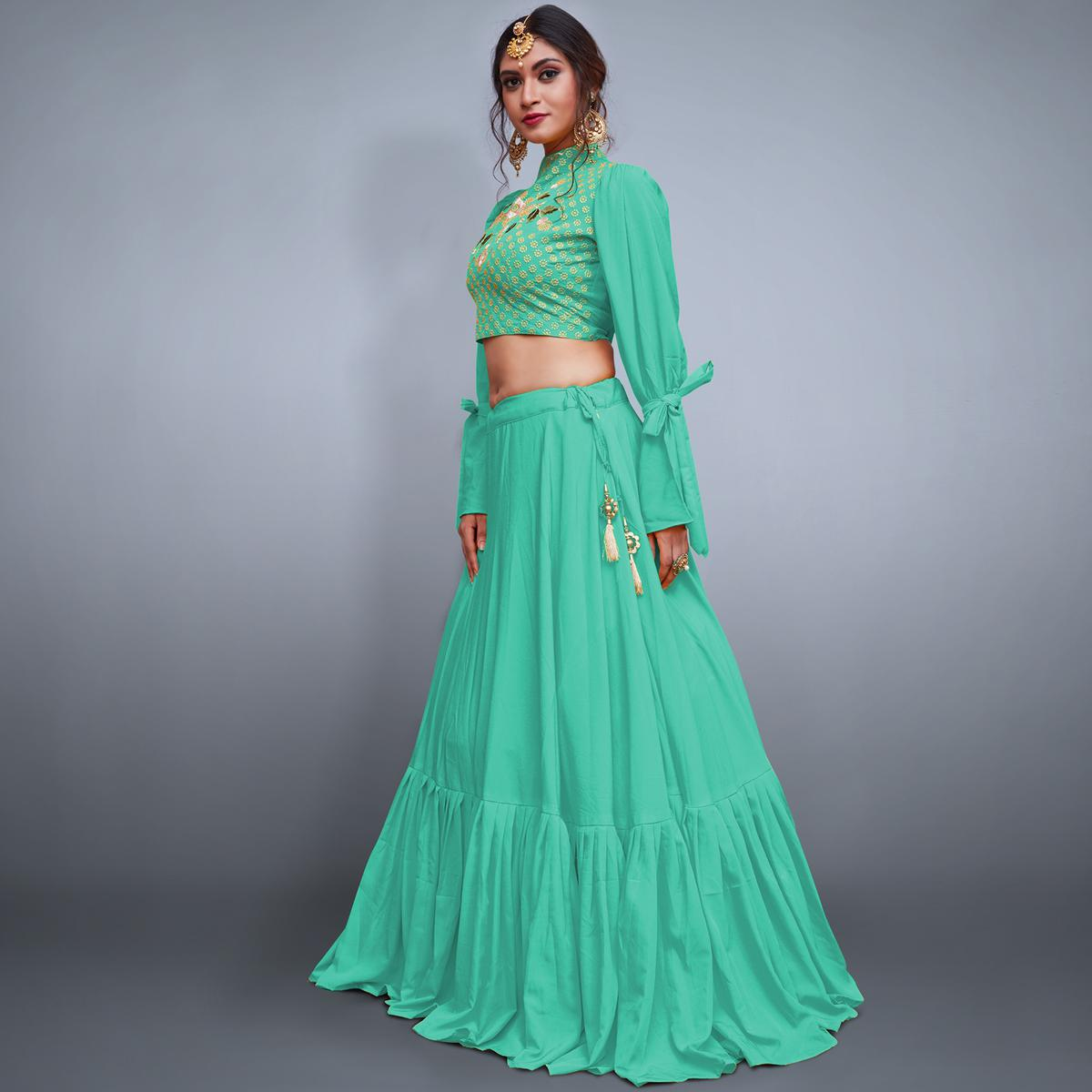 1e70275c1f Buy Excellent Sea Green Colored Party Wear Fancy Crepe Lehenga Choli For  womens online India, Best Prices, Reviews - Peachmode