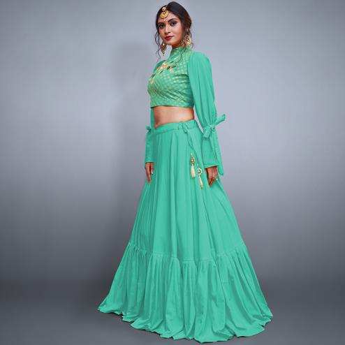 Excellent Sea Green Colored Party Wear Fancy Crepe Silk Lehenga Choli