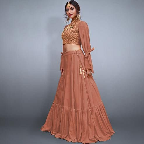 Ethnic Dark Peach Colored Party Wear Fancy Crepe Silk Lehenga Choli