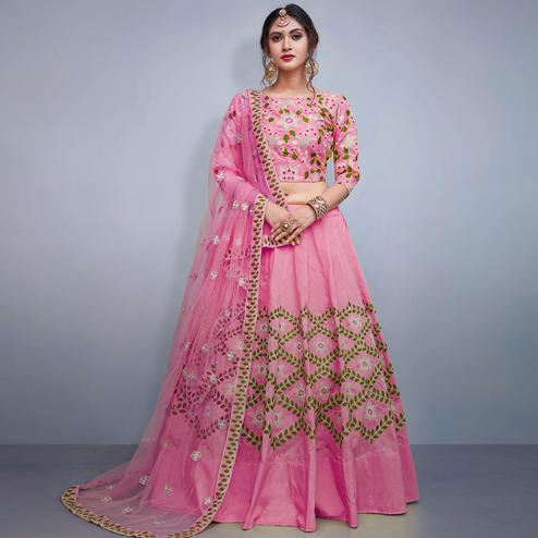 Starring Pink Colored Party Wear Fancy Tapeta Silk Lehenga Choli