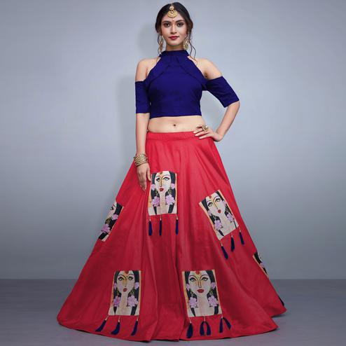 Glowing Deep Pink Colored Party Wear Fancy Tapeta Silk Lehenga Choli