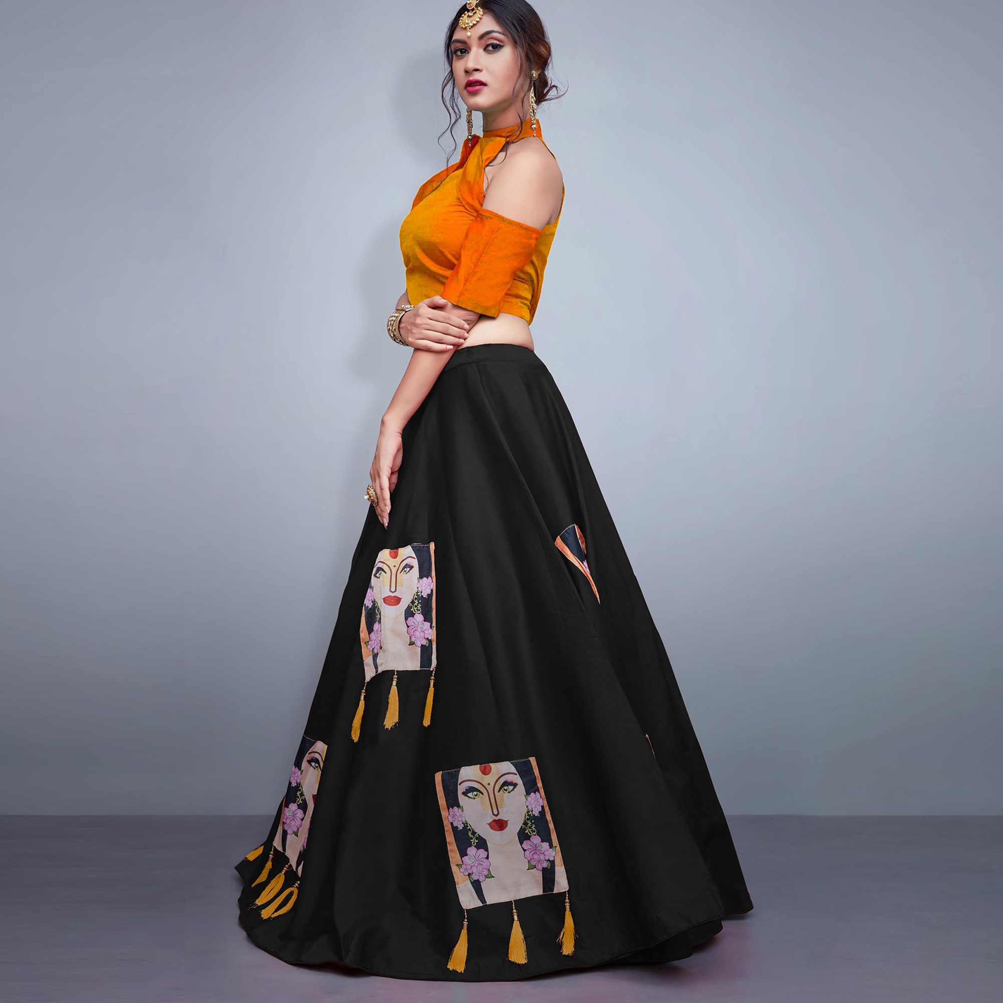 Hypnotic Black Colored Party Wear Fancy Tapeta Silk Lehenga Choli