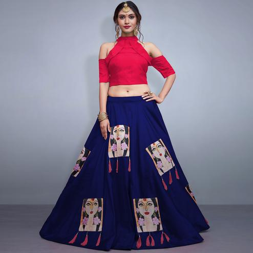 Trendy Navy Blue Colored Party Wear Fancy Tapeta Silk Lehenga Choli