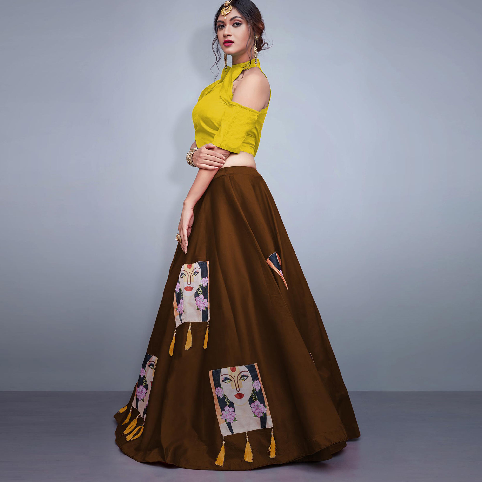 Mesmeric Brown Colored Party Wear Fancy Tapeta Silk Lehenga Choli