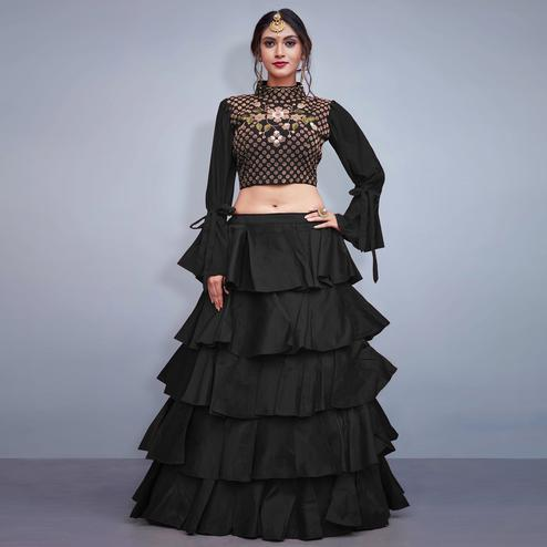 Flaunt Black Colored Party Wear Fancy Art Silk Lehenga Choli