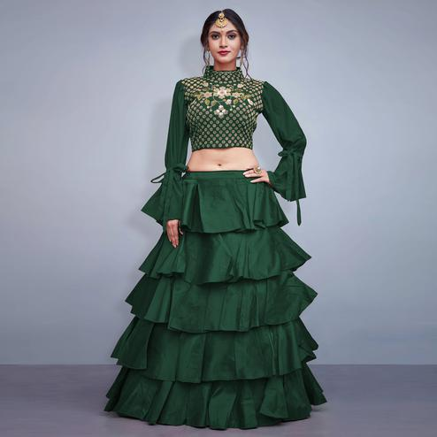Jazzy Pine Green Colored Party Wear Fancy Art Silk Lehenga Choli