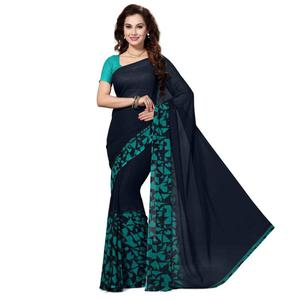 Adorable Navy Blue Colored Casual Wear Printed Georgette Saree