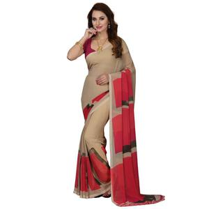 Attractive Beige Colored Casual Wear Printed Georgette Saree