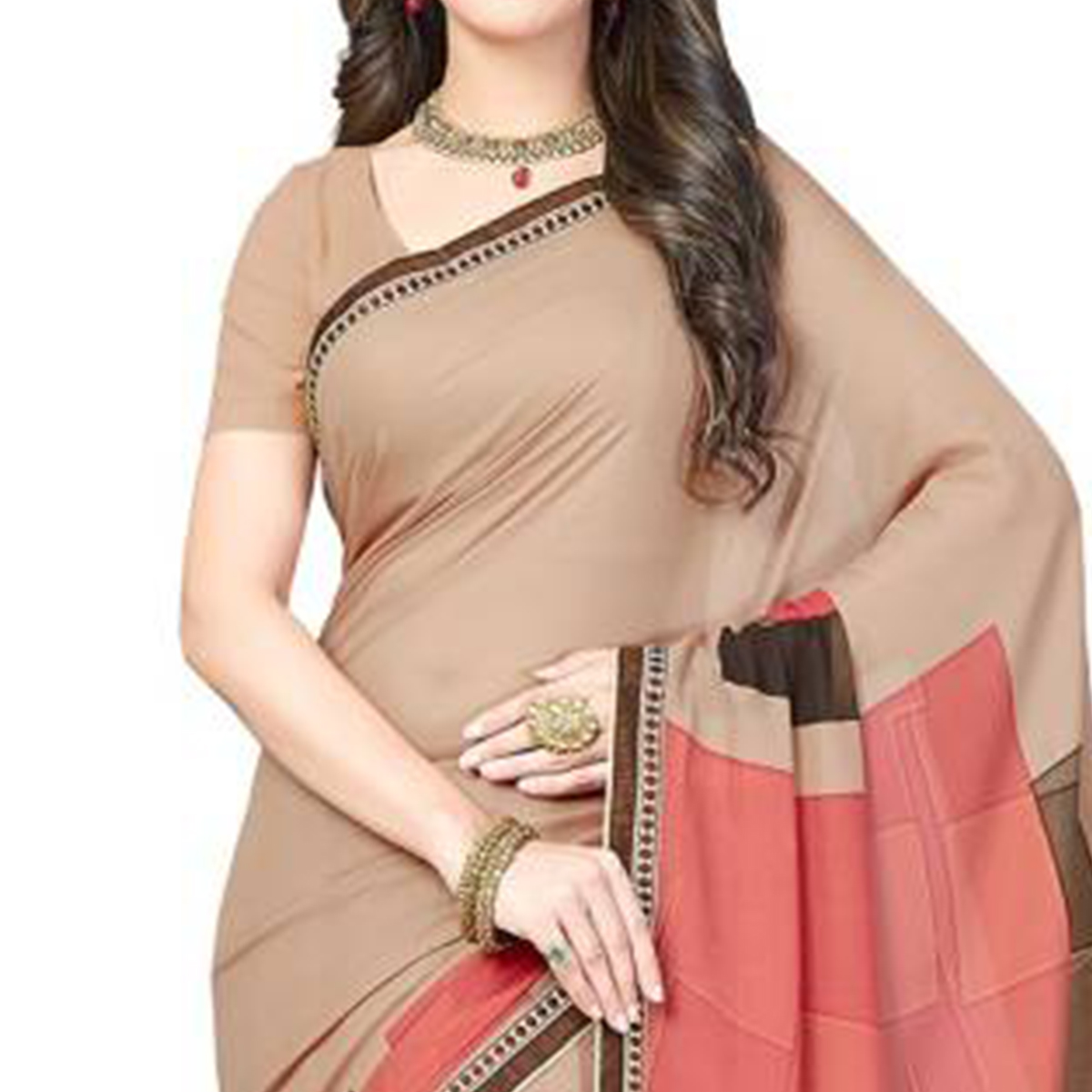 Beautiful Beige Colored Casual Wear Printed Georgette Saree
