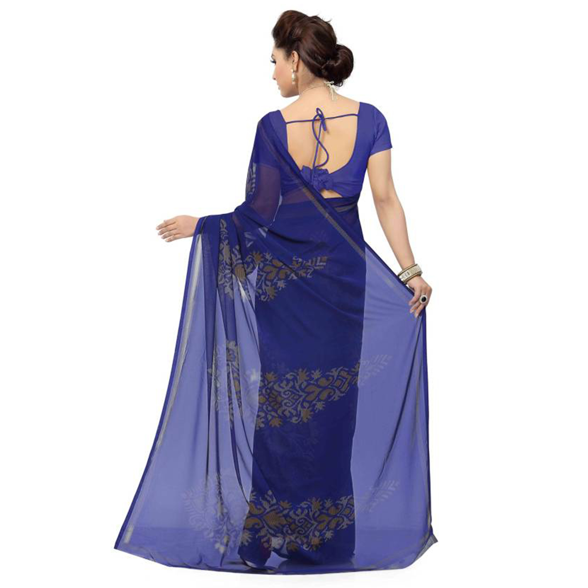 Gorgeous Navy Blue Colored Casual Wear Printed Georgette Saree