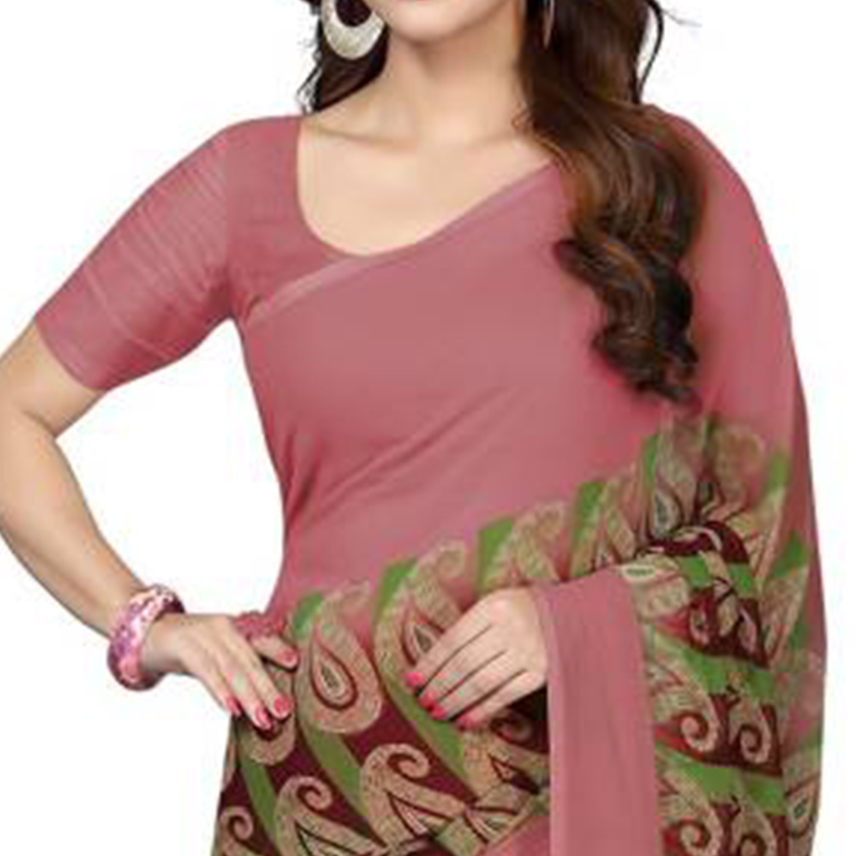 Classy Mauve Colored Casual Wear Printed Georgette Saree