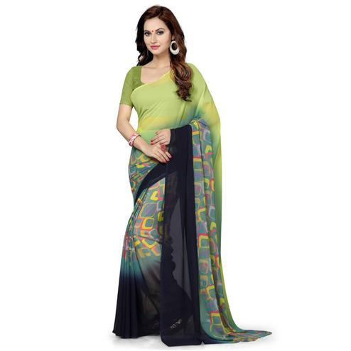 Glorious Green Colored Casual Wear Printed Georgette Saree