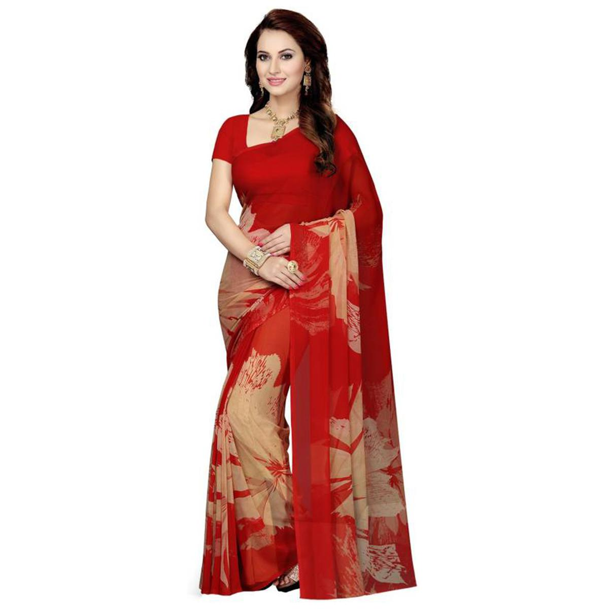 Graceful Red Colored Casual Wear Printed Georgette Saree