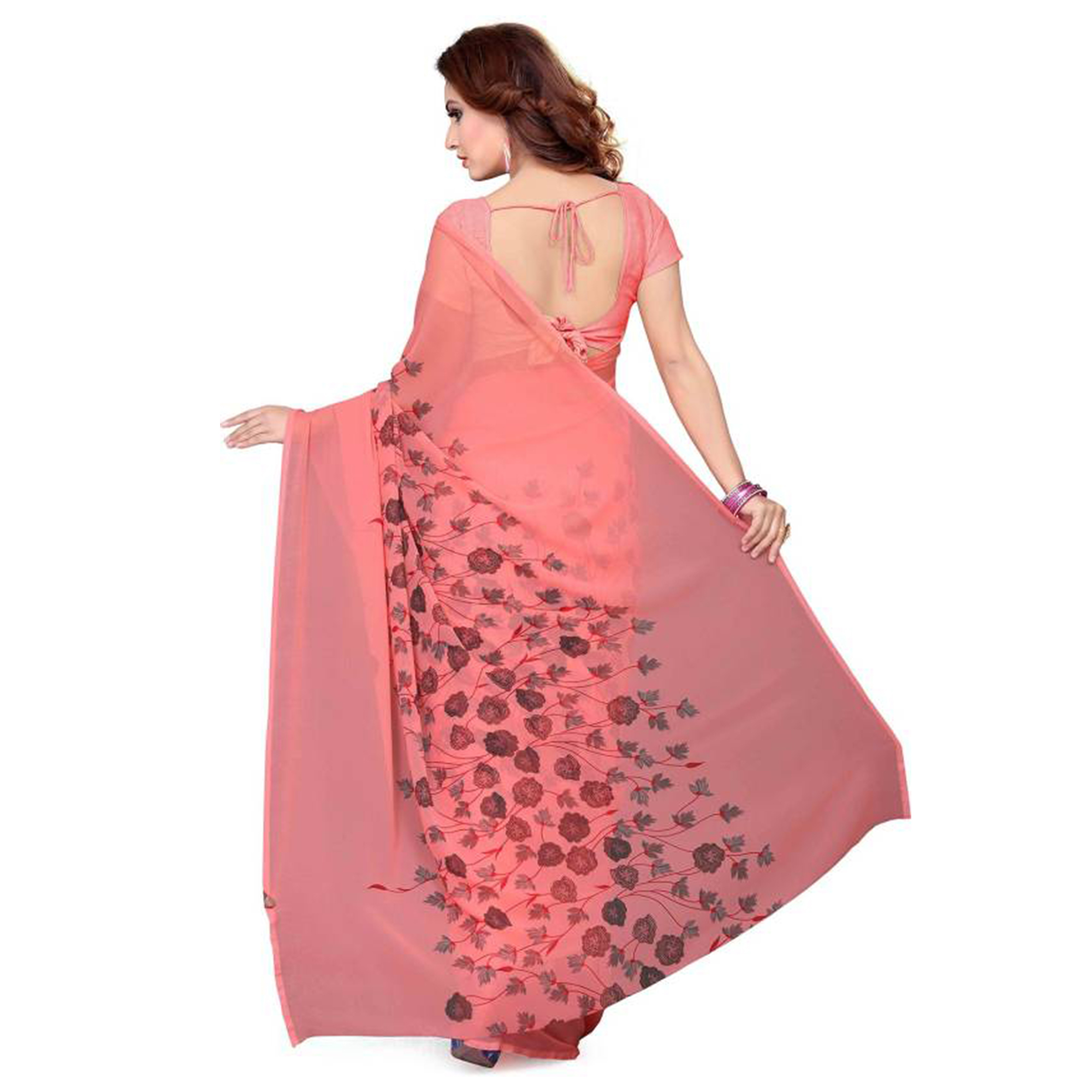 Lovely Pink Colored Casual Wear Printed Georgette Saree