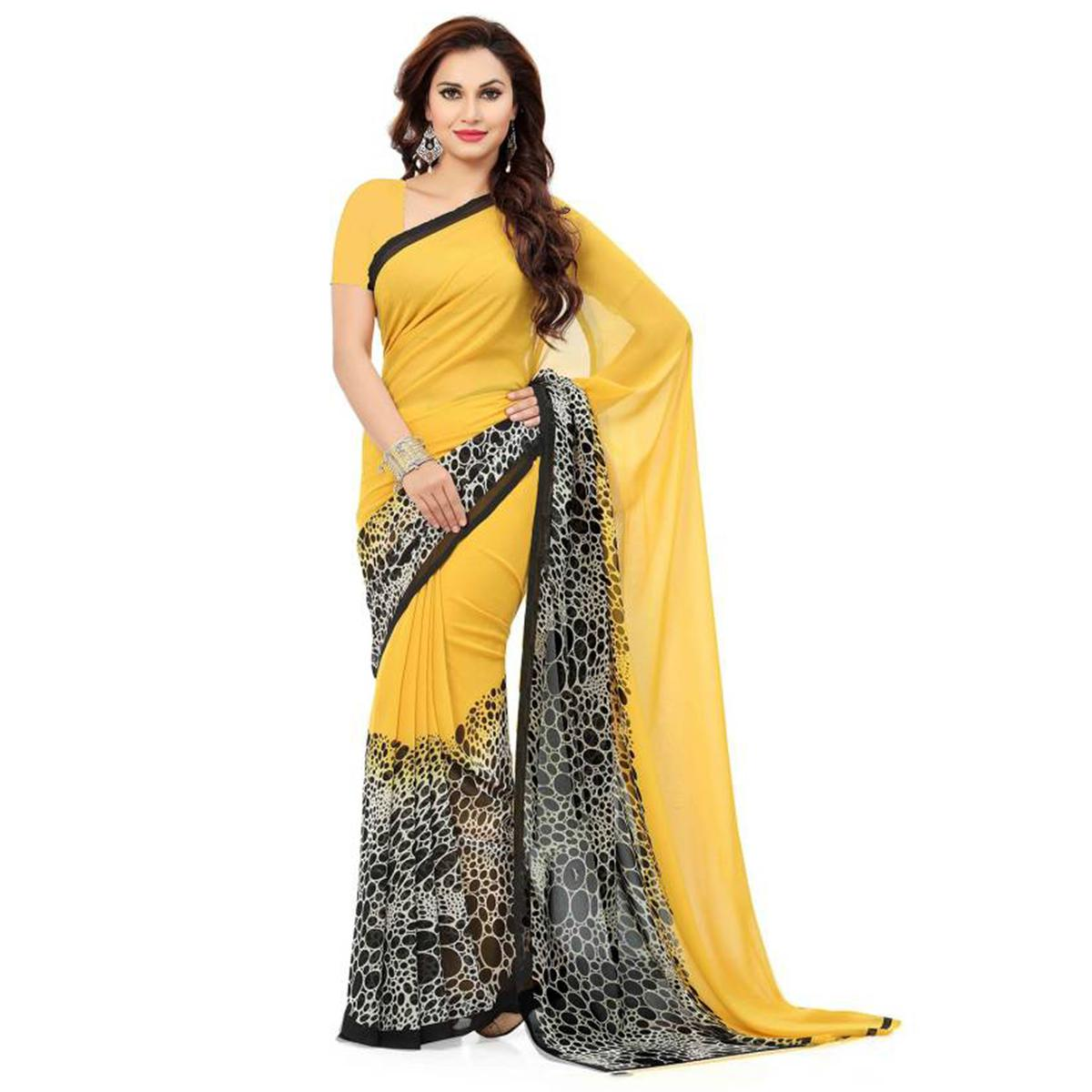 Pretty Yellow Colored Casual Wear Printed Georgette Saree