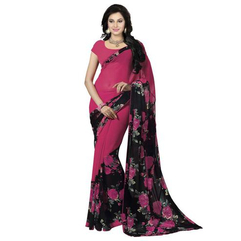 Charming Magenta Pink Colored Casual Wear Printed Georgette Saree