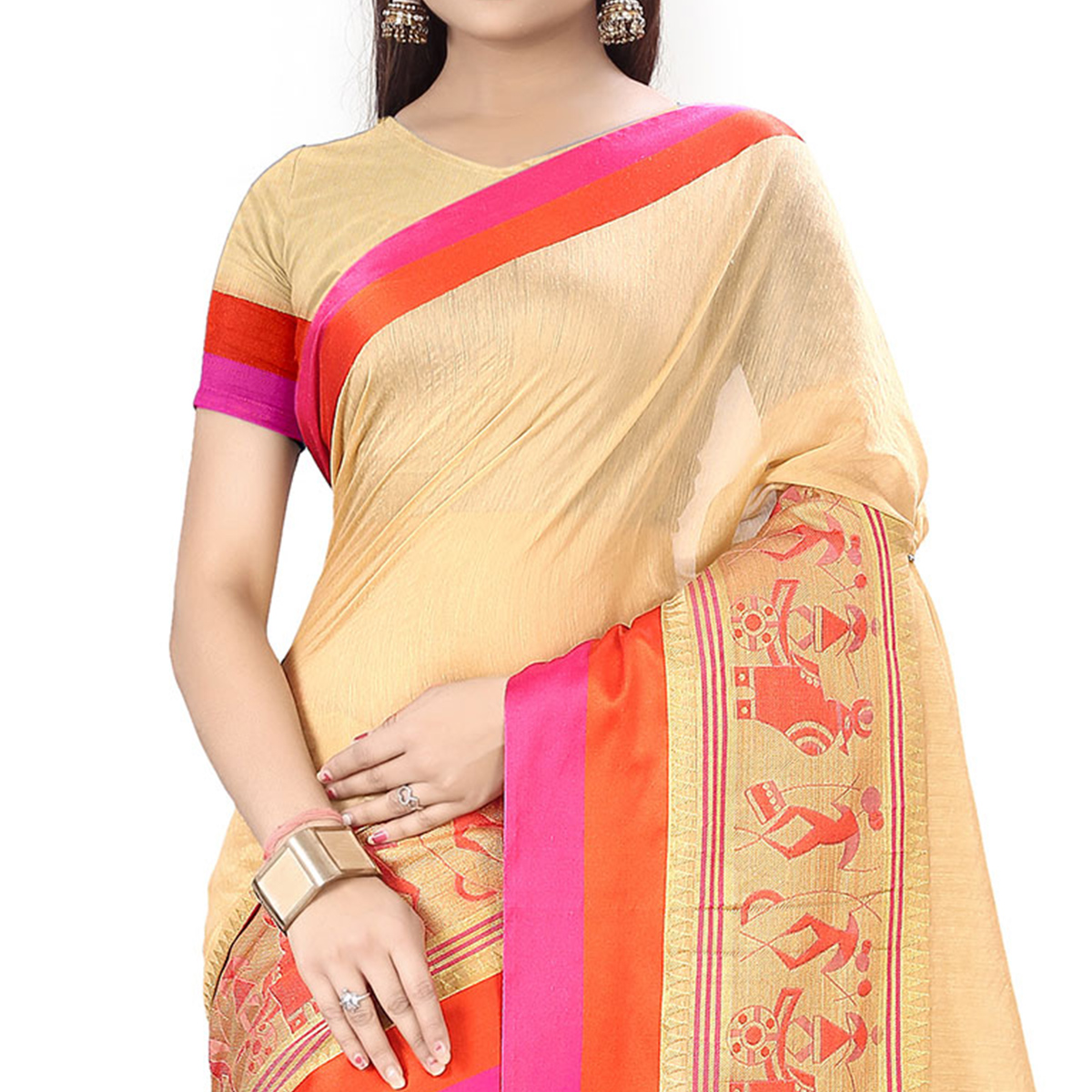 Beige Festive wear Designer Cotton Silk Saree
