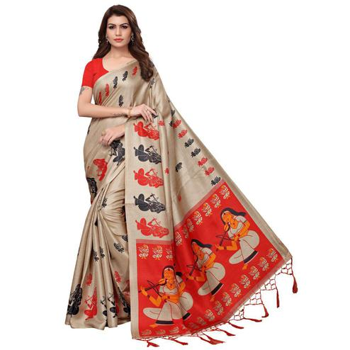 Adorable Beige Colored Festive Wear Printed Khadi Silk Saree