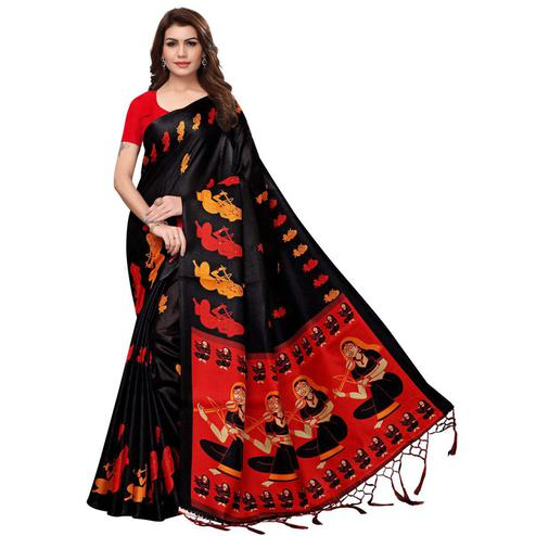 Beautiful Black Colored Festive Wear Printed Khadi Silk Saree
