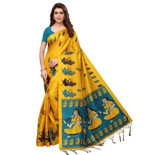 Eye-Catching Yellow Colored Festive Wear Printed Khadi Silk Saree